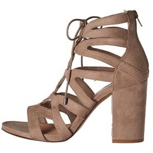 """Steve Madden """"Gal"""" Lace Up Glasiator Sandals Taupe"""
